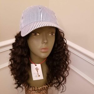 "Light Blue & White Kap / 14"" Loose Wave"